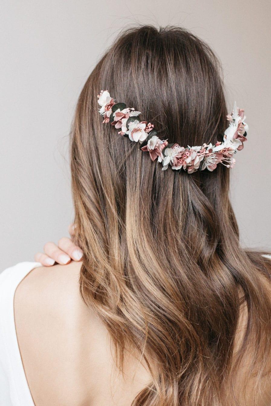 Peigne de fleurs long Tourmaline pour la mariée