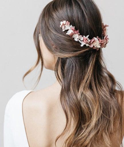 Peigne de mariée long Quartz en fleurs stabilisées