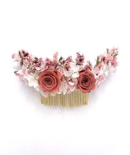 Peigne en fleurs Grenat long pour la mariée