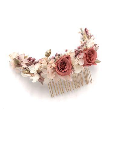 Peigne en fleurs long Grenat