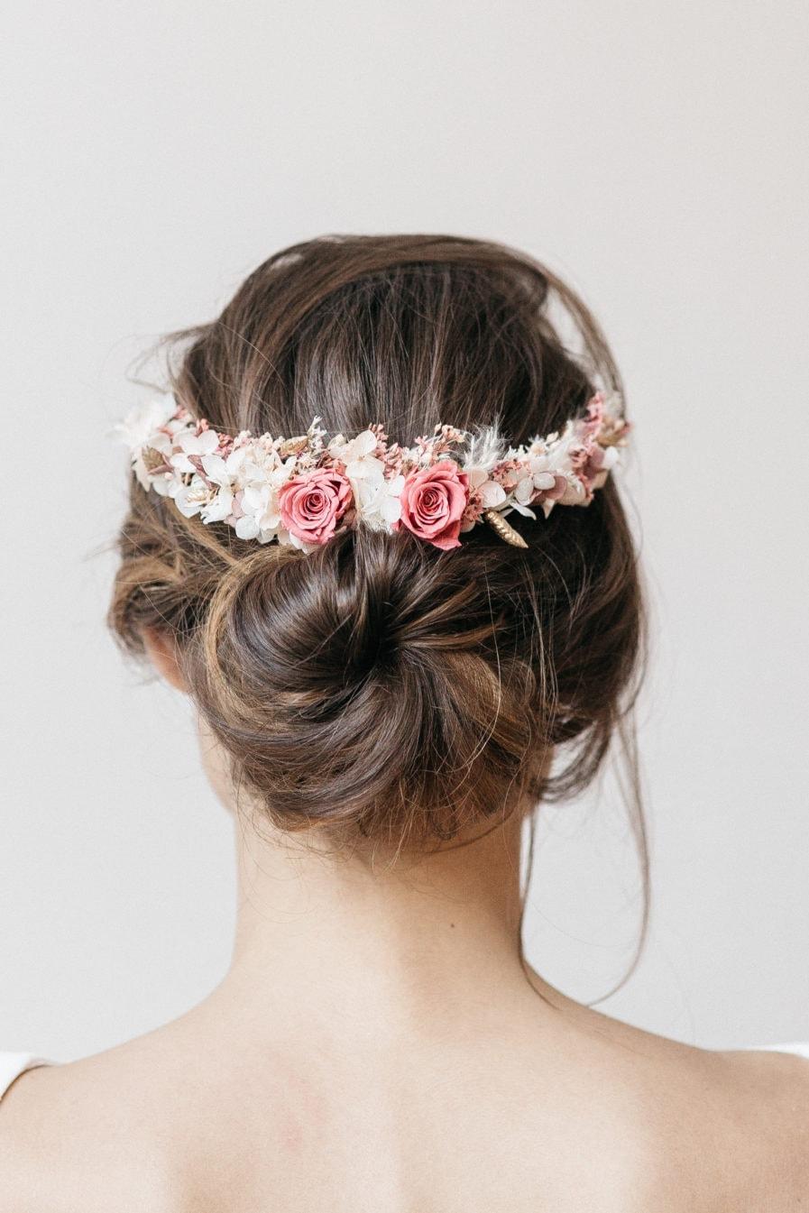 Peigne en fleurs long Grenat pour la mariée
