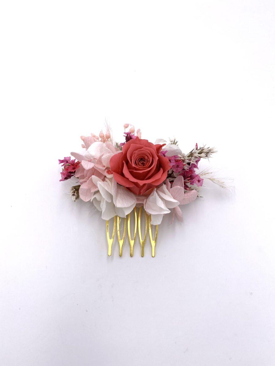 Peigne en fleurs mini Grenat pour la mariée