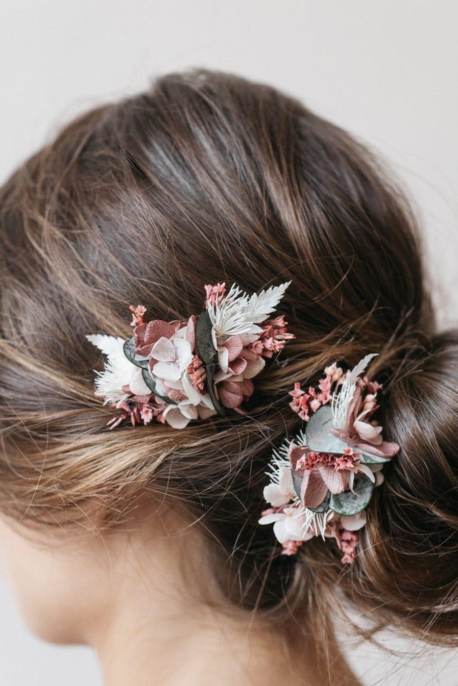 Peigne en fleurs mini Tourmaline pour la mariée