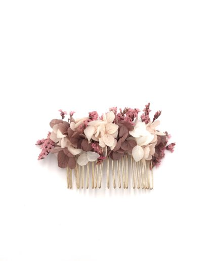 Peigne en fleurs stabilisées Quartz pour la mariée moderne