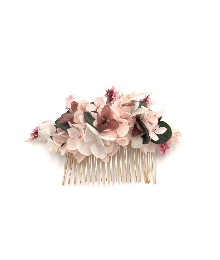 Peigne en fleurs stabilisées Tourmaline pour la mariée