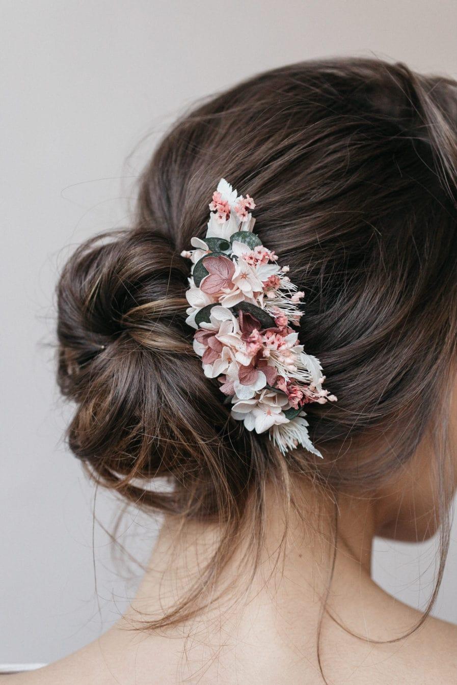 Peigne en fleurs stabilisées et eucalyptus Tourmaline - Bijou de mariée