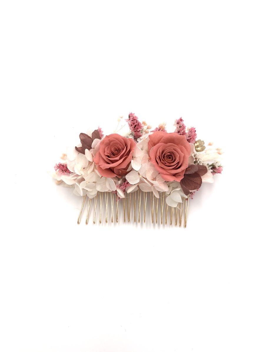 Peigne en fleurs stabilisées et séchées Grenat - Collection Quartz