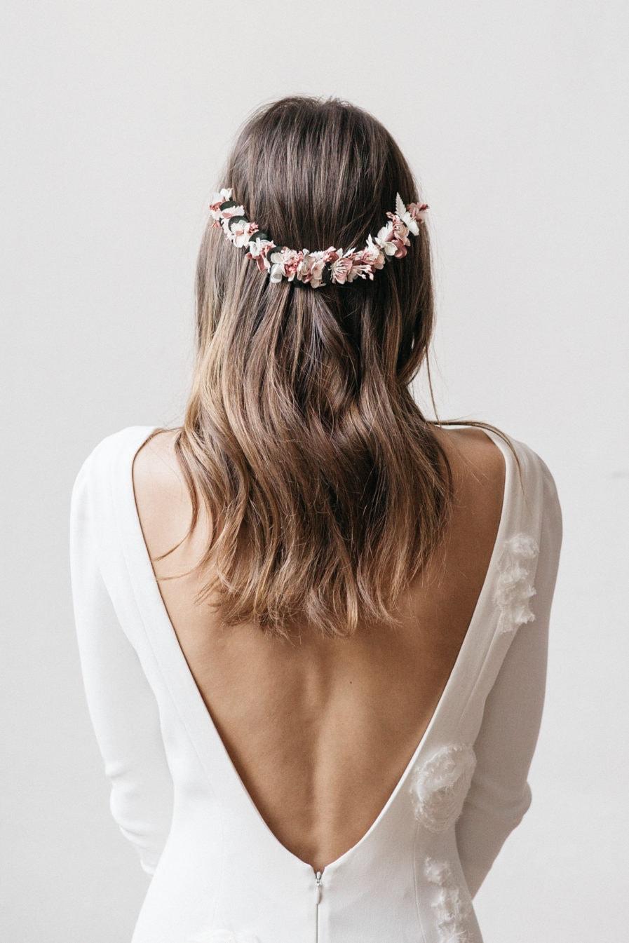 Peigne long de fleurs Tourmaline pour la mariée