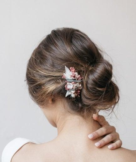Peigne mini en fleurs stabilisées Tourmaline