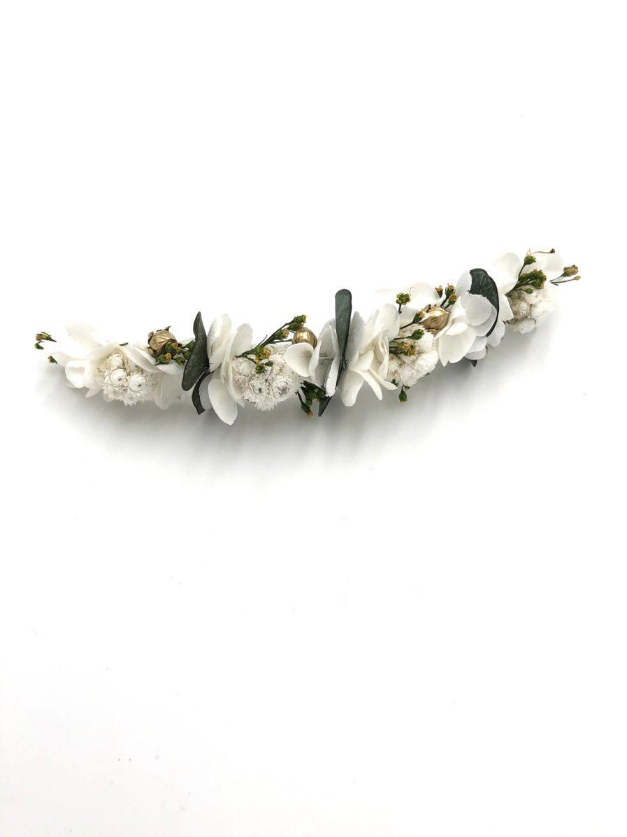 Barrette en fleurs stabilisées Minthé