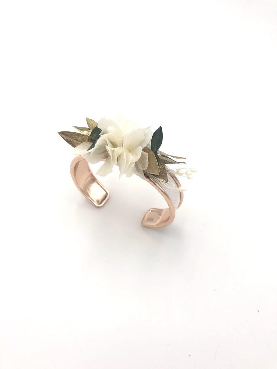 Bracelet jonc Opaline en fleurs