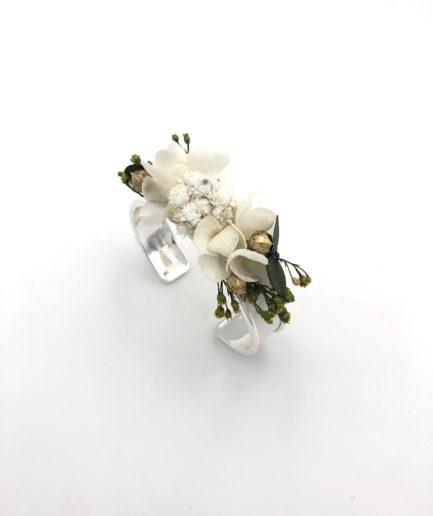 Bracelet jonc en fleurs séchées Minthé