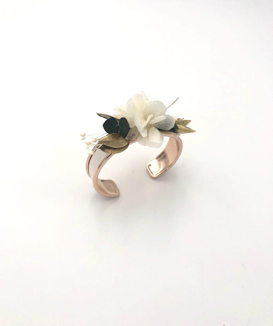 Bracelet jonc en fleurs stabilisées Opaline