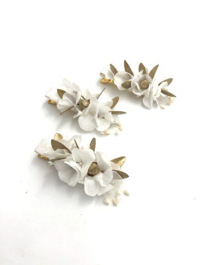 mini barrette dorée en fleurs stabilisées