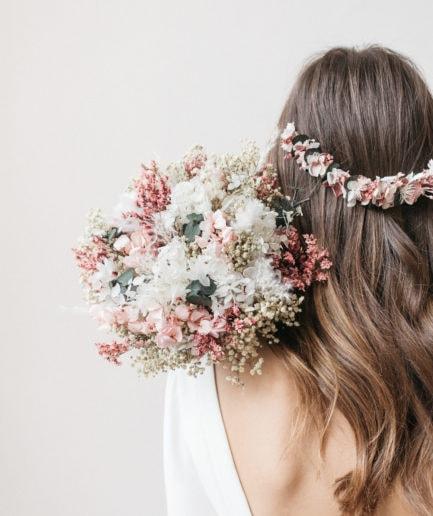 Bouquet de la mariée Tourmaline en fleurs séchées