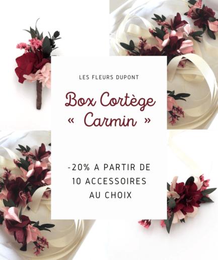 Box cortège Carmin en fleurs stabilisées