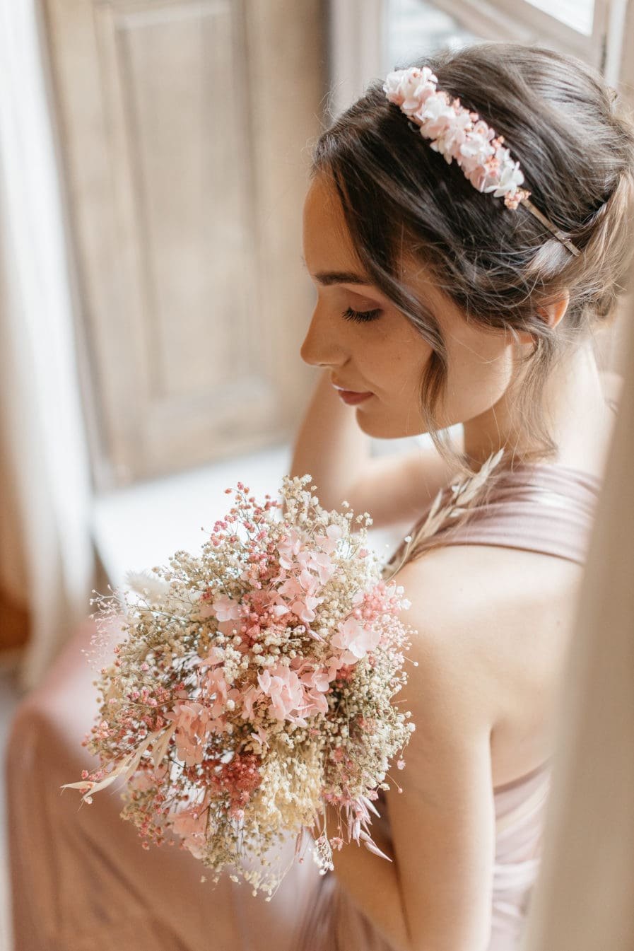 Bouquet de la mariée en fleurs séchées Candi