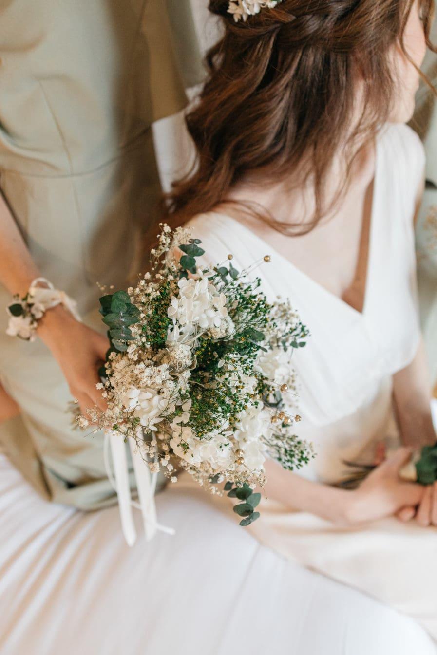 Bouquet de la mariée en fleurs séchées Minthé