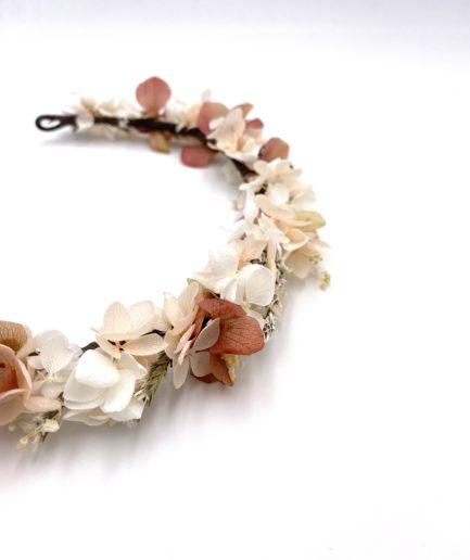 Couronne en fleurs stabilisées Blush pour la mariée