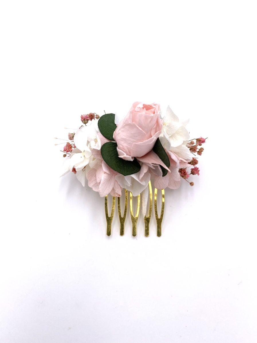 Peigne Confetti mini en fleurs stabilisées pour la mariée