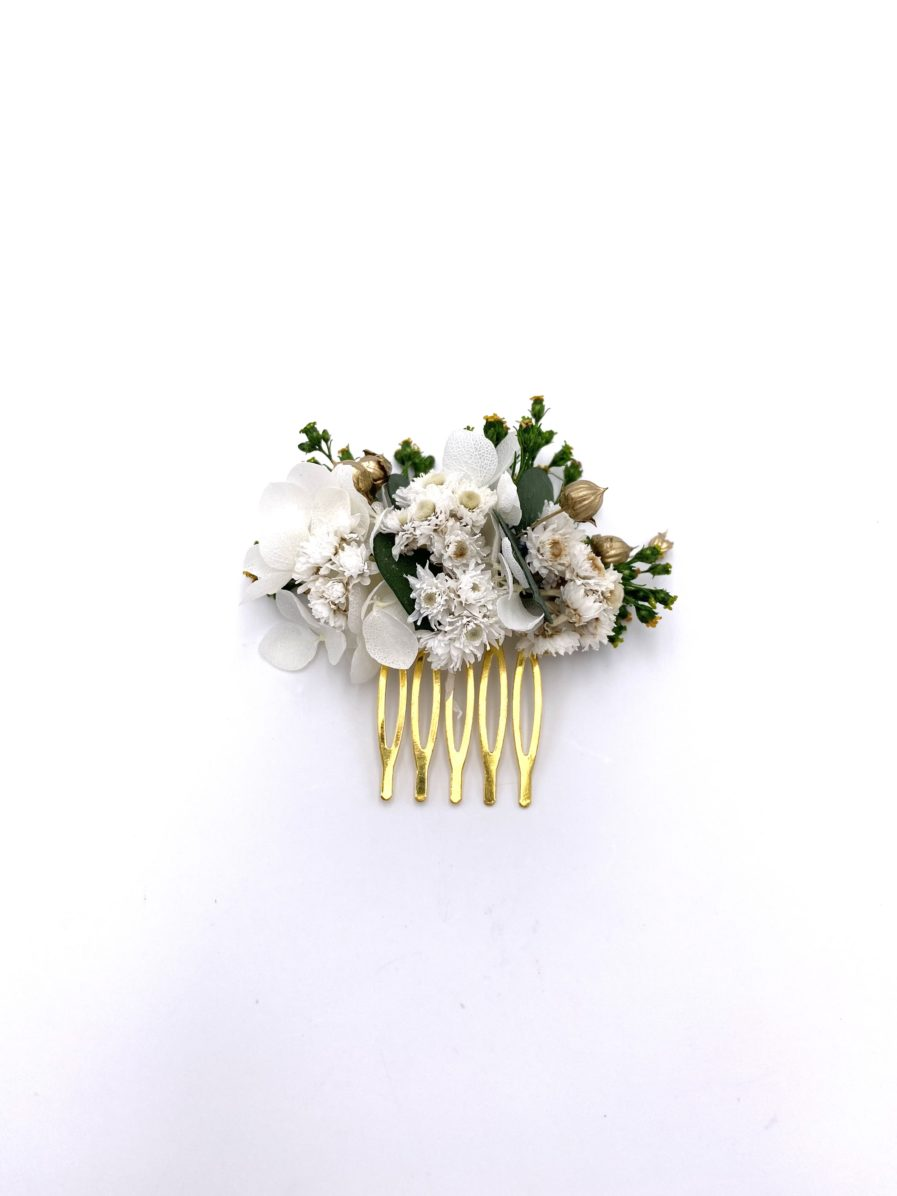 Peigne Minthé mini en fleurs stabilisées et séchées