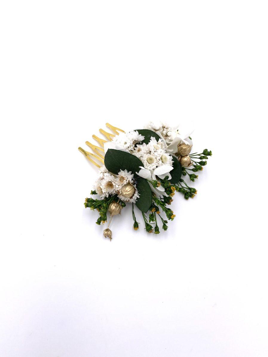 Peigne de mariée Minthé en fleurs stabilisées et séchées