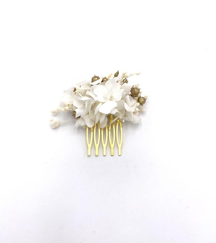 Peigne en fleurs dorées Aura mini