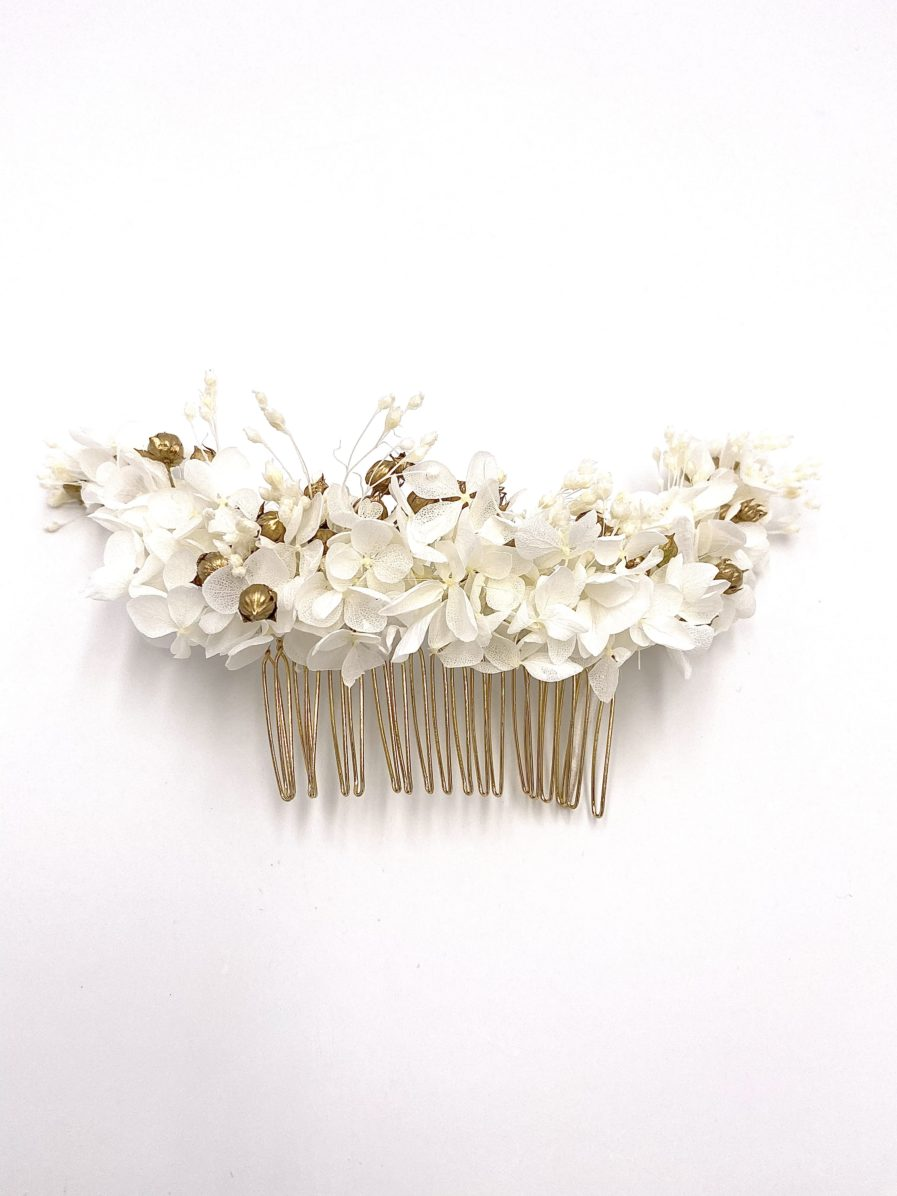 Peigne en fleurs séchées Aura long pour la mariée