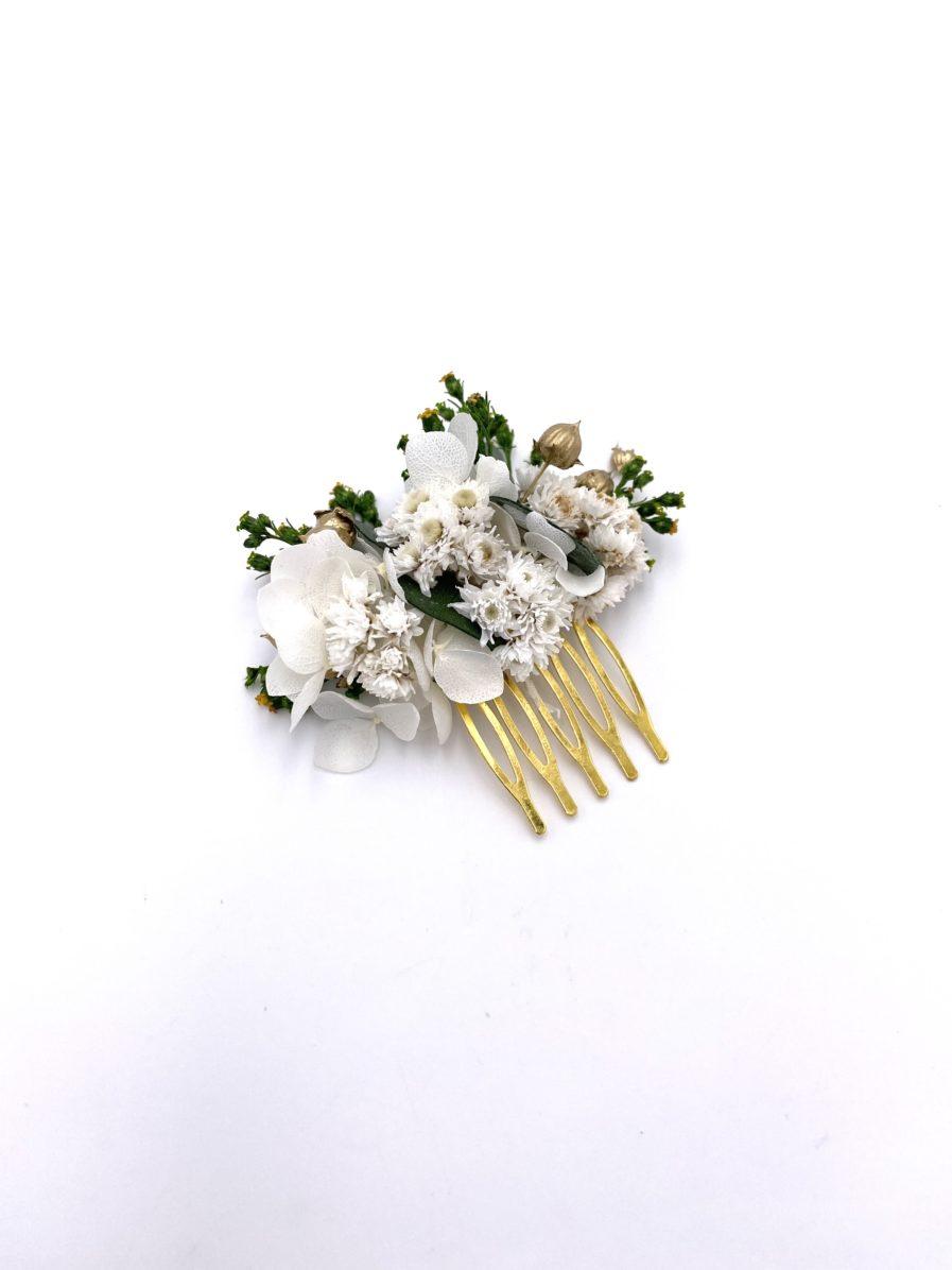 Peigne en fleurs séchées et stabilisées Minthé pour la mariée