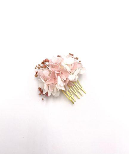 Peigne en fleurs stabilisées roses Candi mini pour la mariée