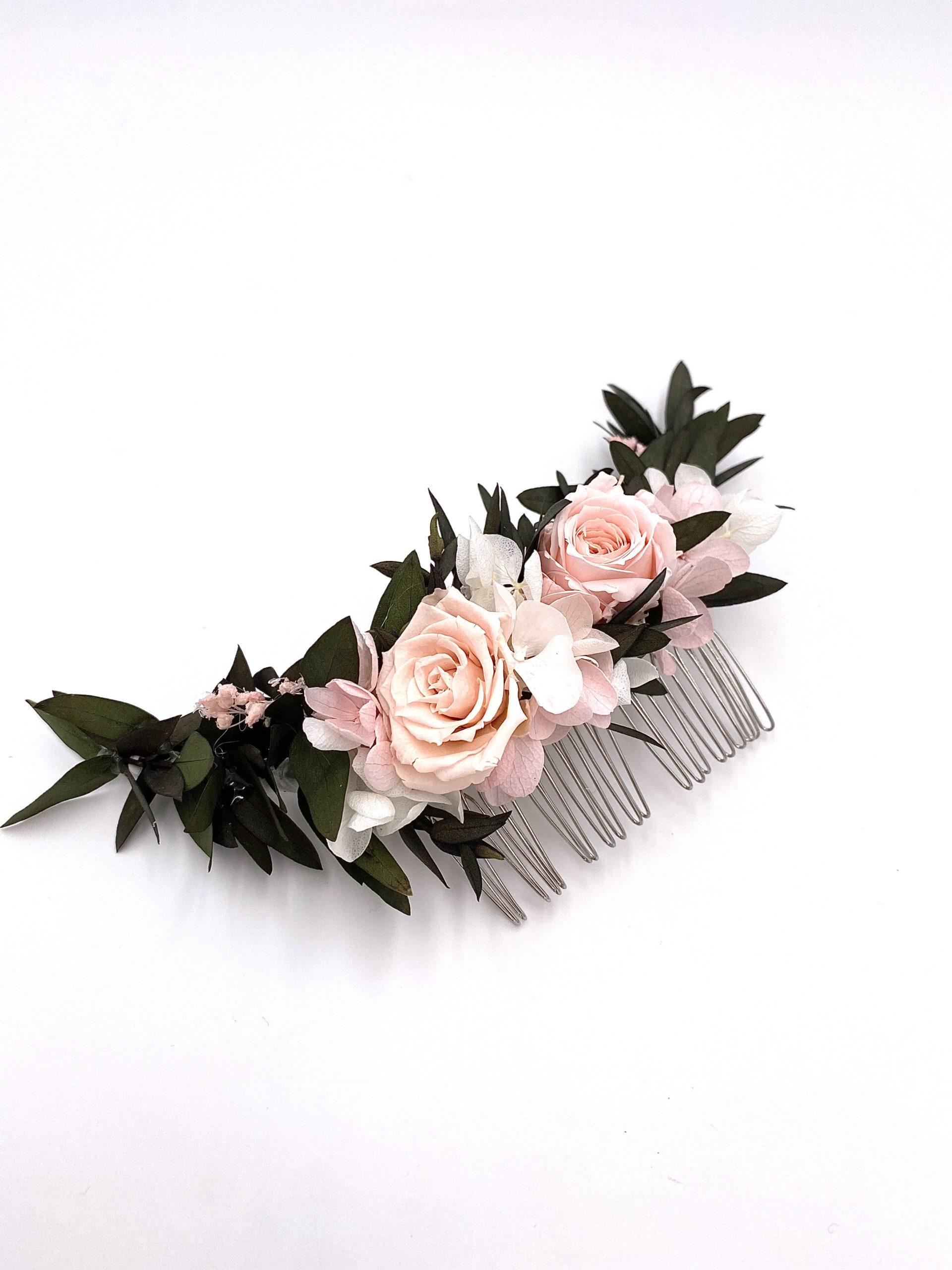 Peigne en fleurs stabilisées roses Lima long