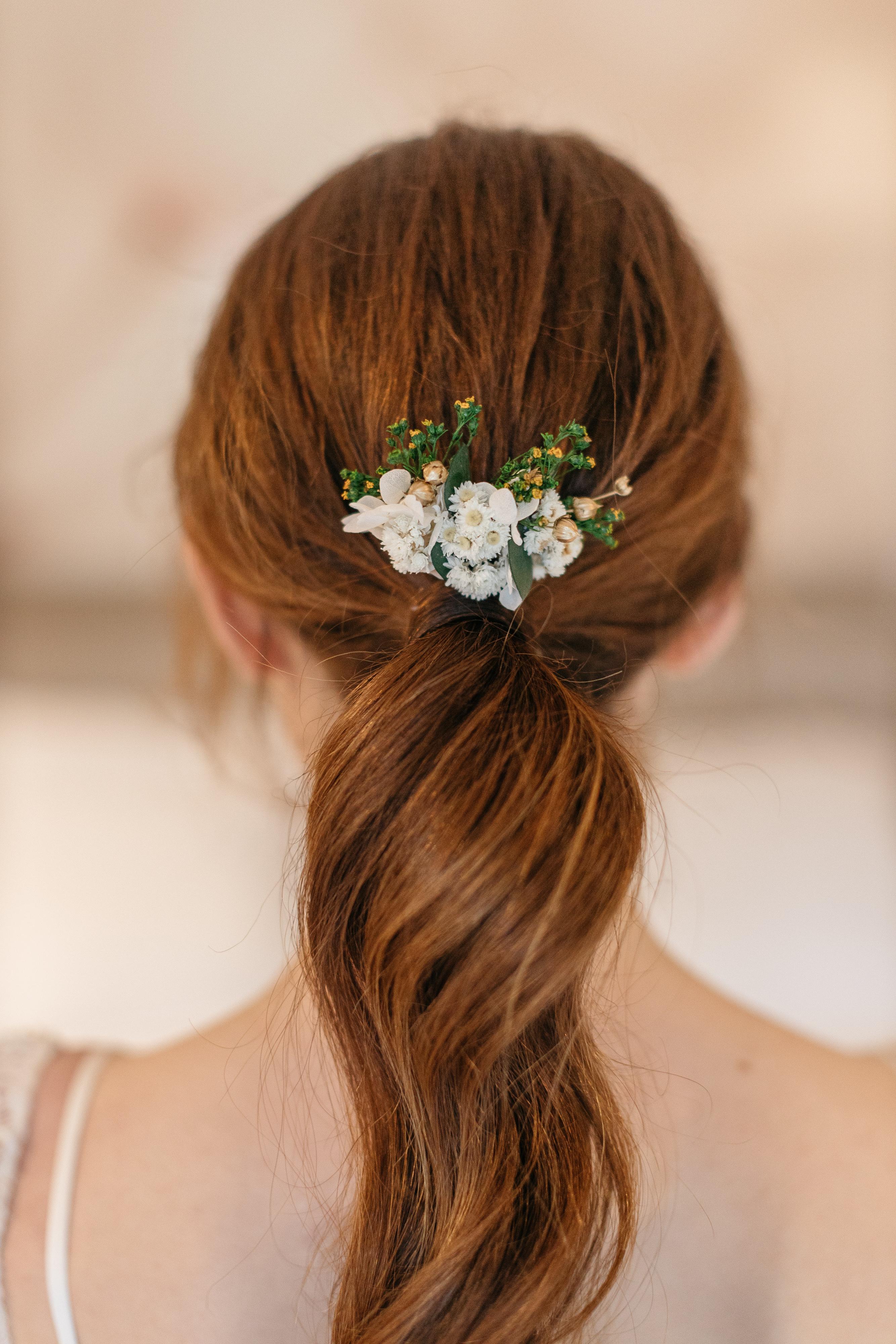 Peigne mini Minthé en fleurs stabilisées