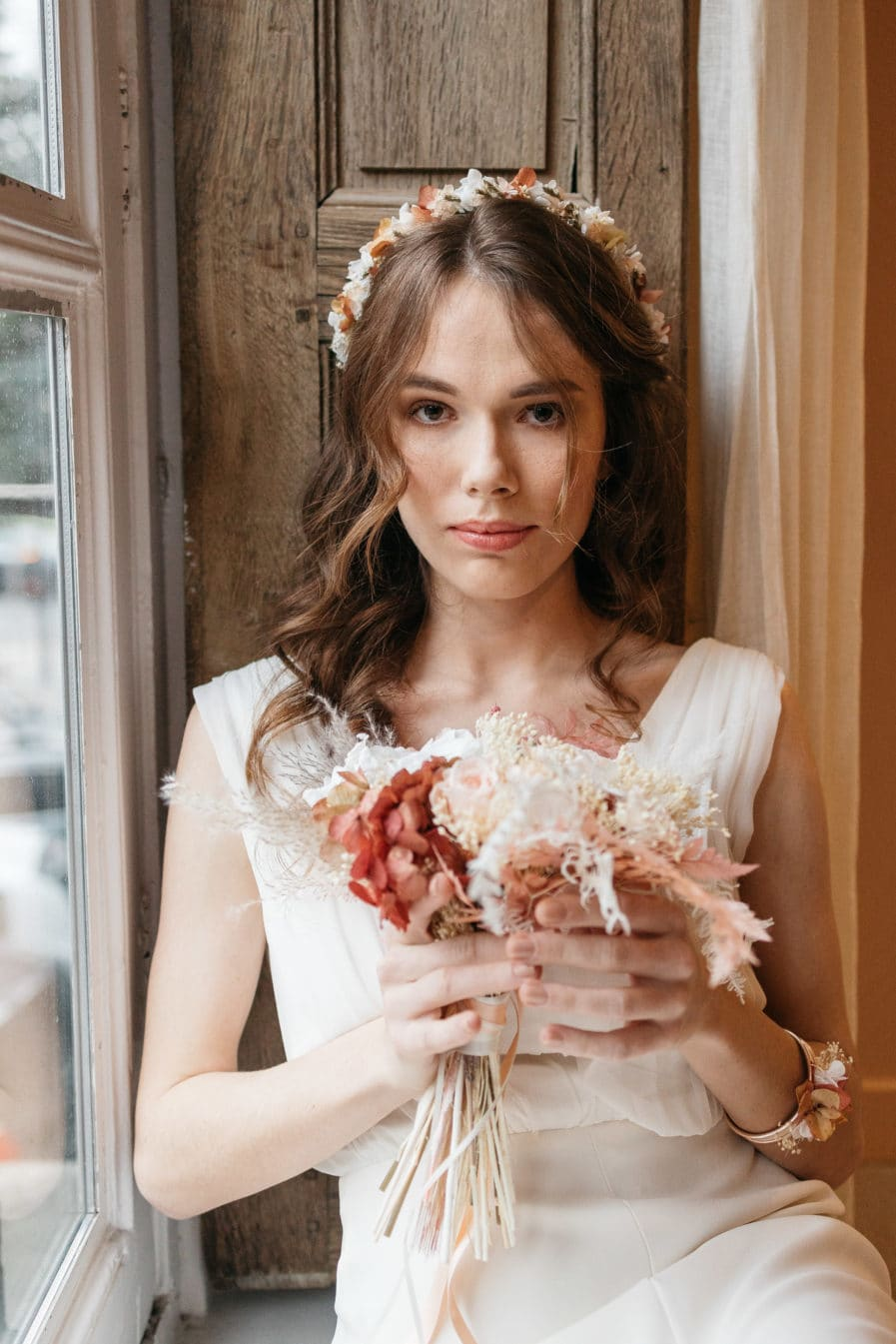 Bouquet de la mariée Blush en fleurs stabilisées