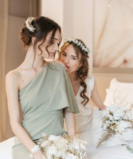 Couronne en fleurs stabilisées Opaline pour la mariée