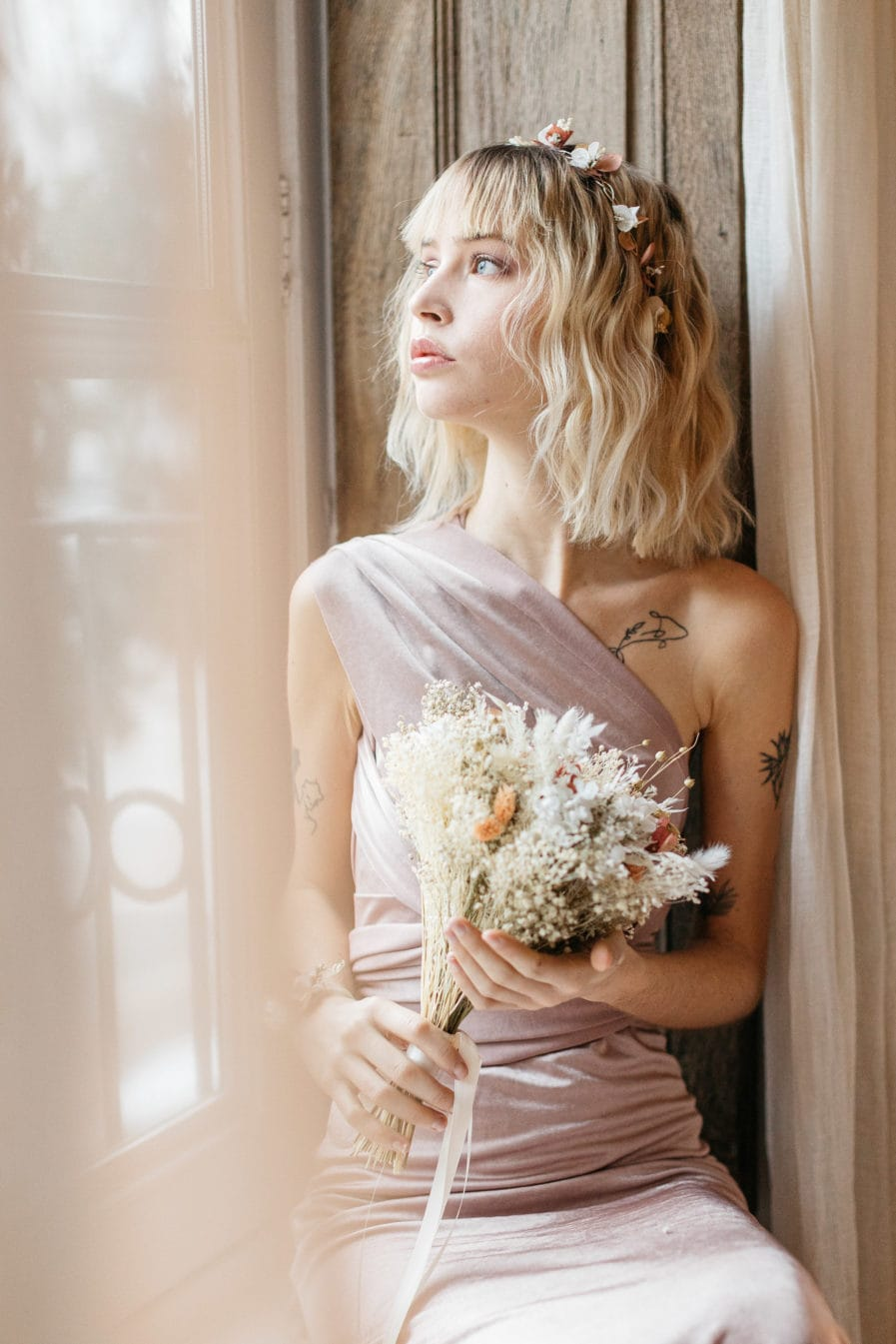 Demie-couronne Blush pour la demoiselle d'honneur