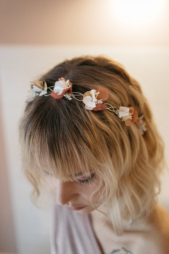 Demie-couronne en fleurs stabilisées Blush