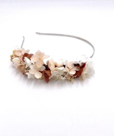 Headband en fleurs stabilisées Blush