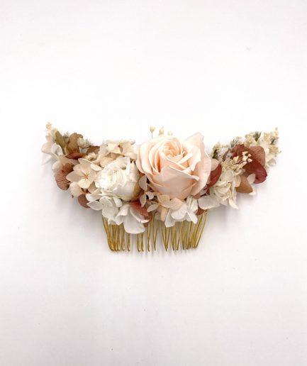 Peigne Blush long en fleurs stabilisées