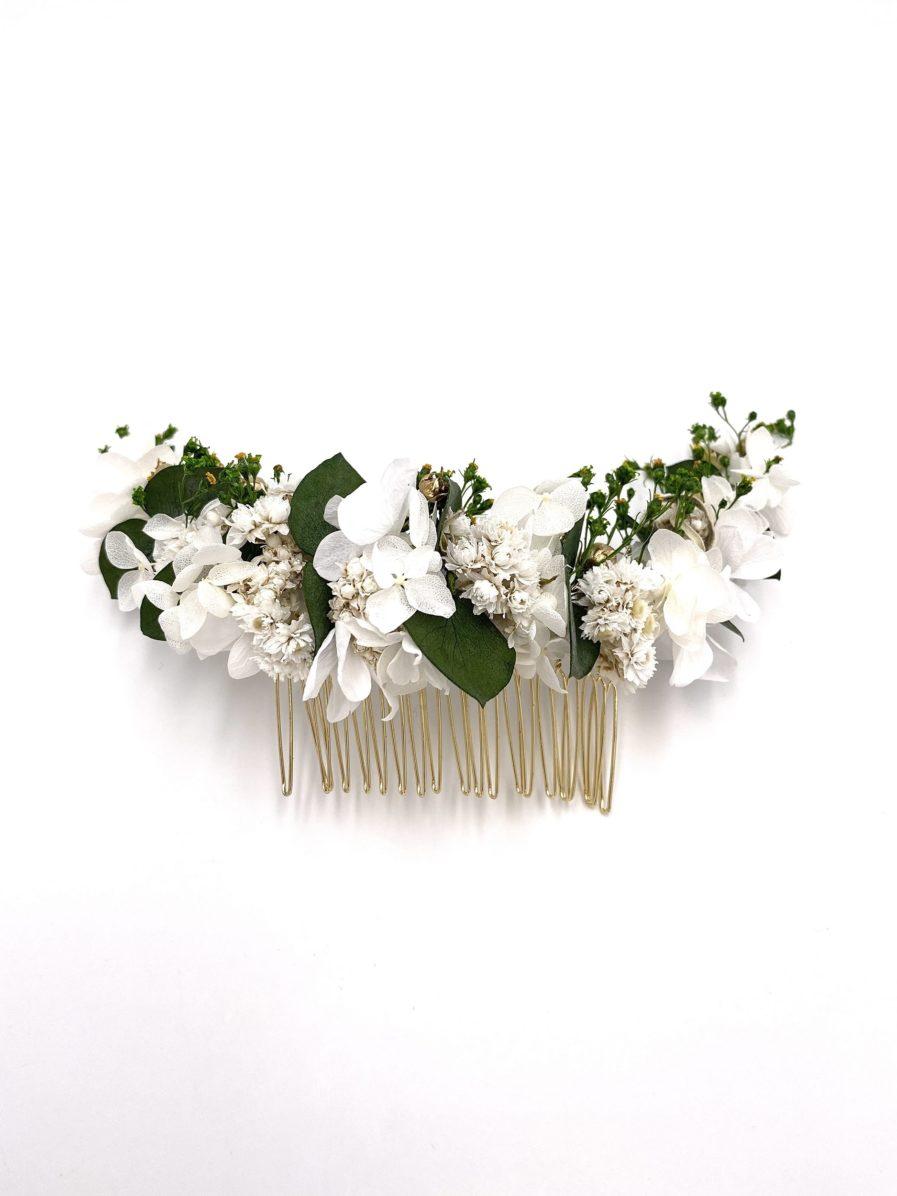 Peigne Minthé long en fleurs stabilisées