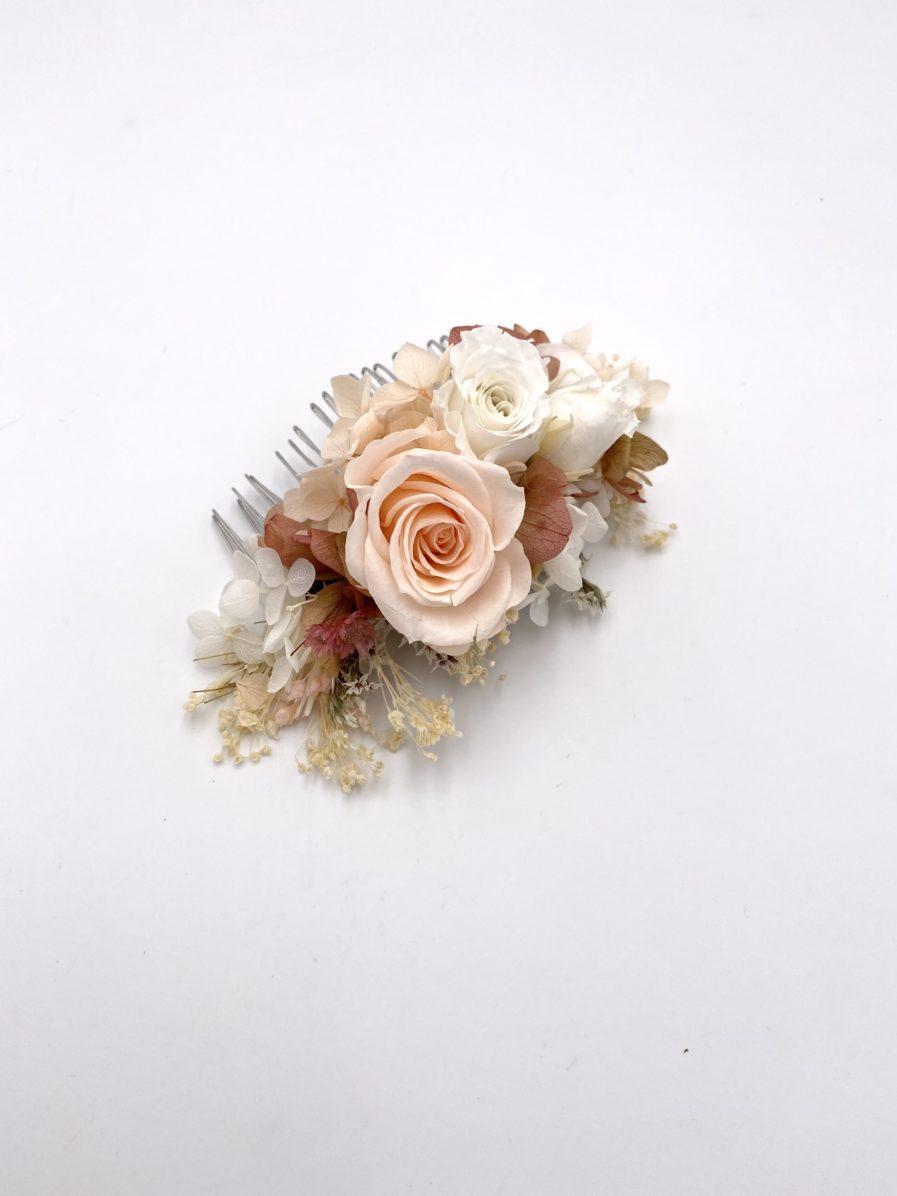 Peigne avec roses stabilisées Blush pour la mariée