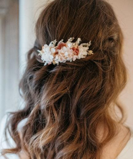 Peigne en fleurs stabilisées Blush
