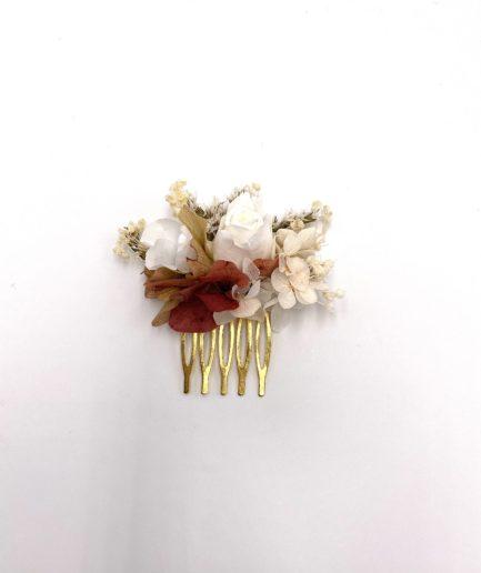 Peigne mini en fleurs stabilisées Blush pour la mariée